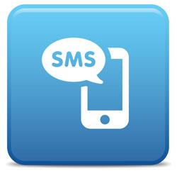 sms icon blue square