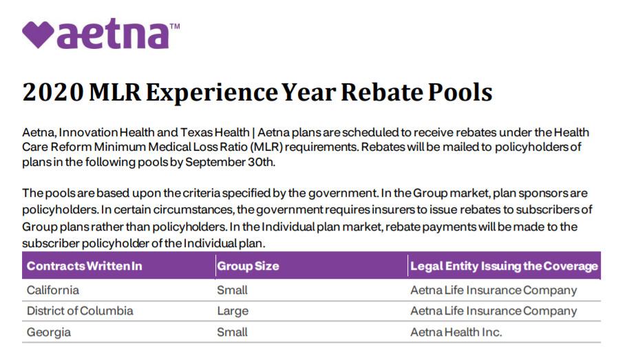 Aetna Provides Update on 2020 MLR Rebates