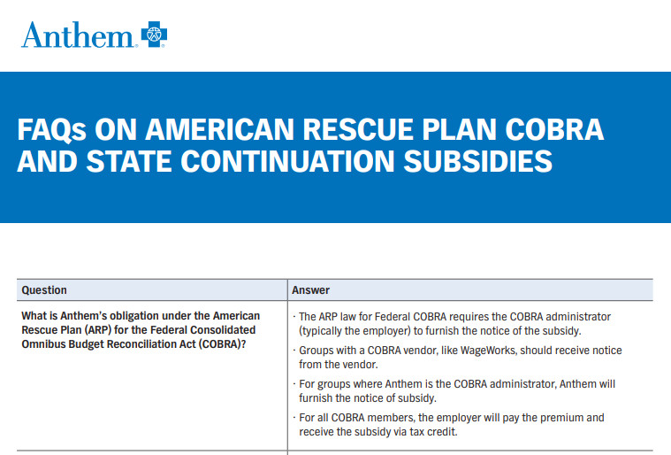 Anthem Provides ARPA Updates for Small Groups Subject to Cal-COBRA