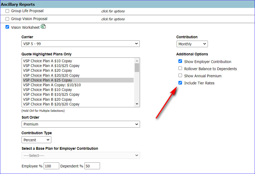 bpQuote Adds Option to Display Tier Rates on Vision Worksheets