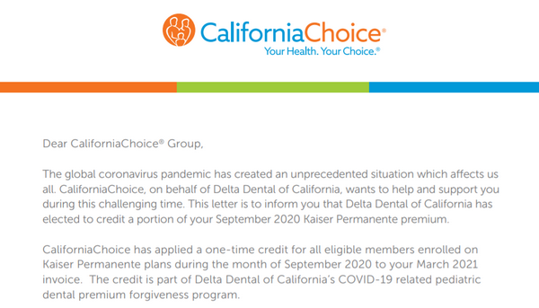 CaliforniaChoice: Kaiser Permanente COVID-19 Pediatric Dental Premium Credit
