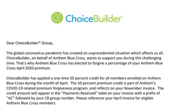 ChoiceBuilder: Anthem Blue Cross COVID-19 Relief Credit