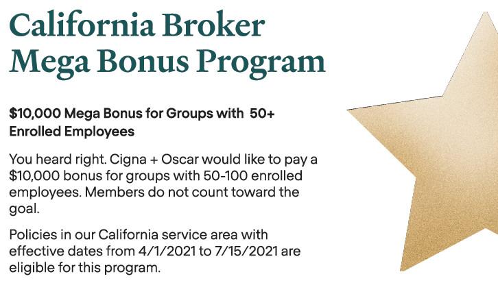 Cigna + Oscar Offering $10,000 Mega Bonus