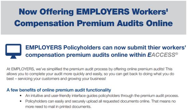 EMPLOYERS: Now Offering Online Premium Audits
