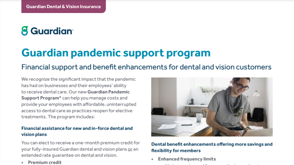 Guardian Financial Support and Benefit Enhancements for Dental and Vision Customers