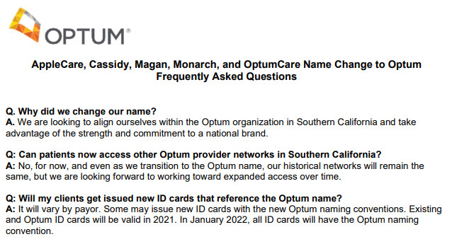 Health Net: AppleCare Medical Group and Monarch Healthcare Change their Names to Optum
