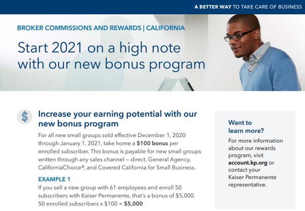 Kaiser Permanente Announces December 2020 & January 2021 Broker Bonus