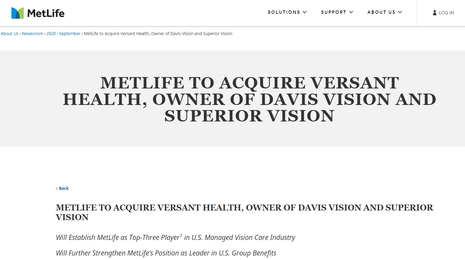 MetLife Completes Acquisition of Versant Health