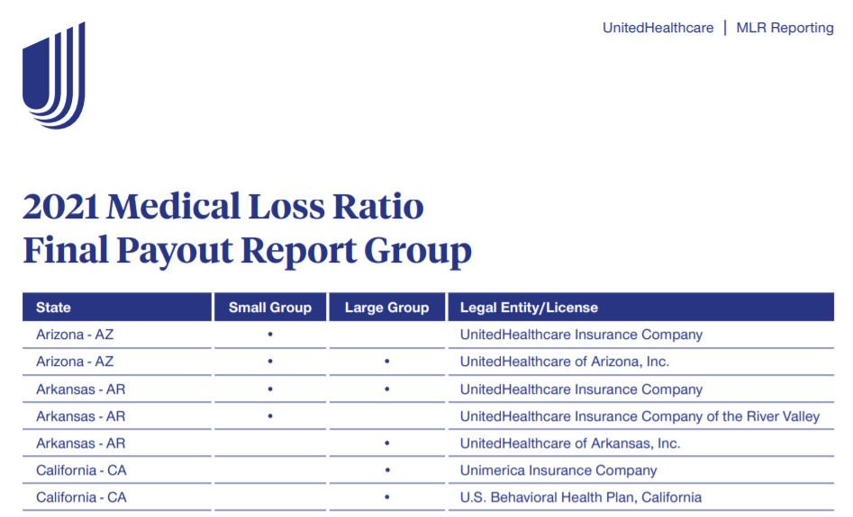 UHC Provides Update on 2020 MLR Rebates